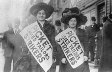 The New York shirtwaist strike of 1909 was a labor strike primarily involving Jewish women working in New York shirtwaist factories. Led by Clara Lemlich and supported by the National Women's Trade Union League of America, the strike began in November 1909. In February 1910, the NWTUL settled with the factory owners, gaining improved wages, working conditions, and hours. The end of the strike was followed only a year later by the Triangle Shirtwaist Factory Fire.
