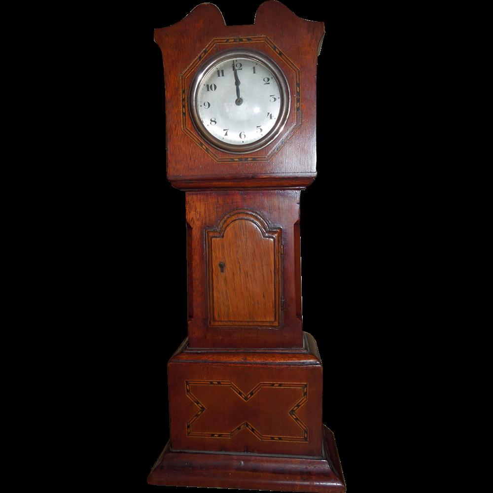 Edwardian Miniature Grandfather Clock Apprentice Piece Or Doll House Grandfather Clock Clock Antique Wall Clock