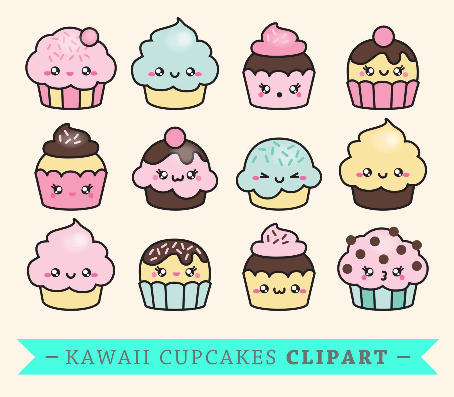 premium vector clipart kawaii cup cakes cute cupcakes clipart set high quality vectors. Black Bedroom Furniture Sets. Home Design Ideas