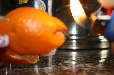 Bartending trick. Hold a lighter to an orange peel and burn until drops of orange oil start to fall for a nice citrus scent oil