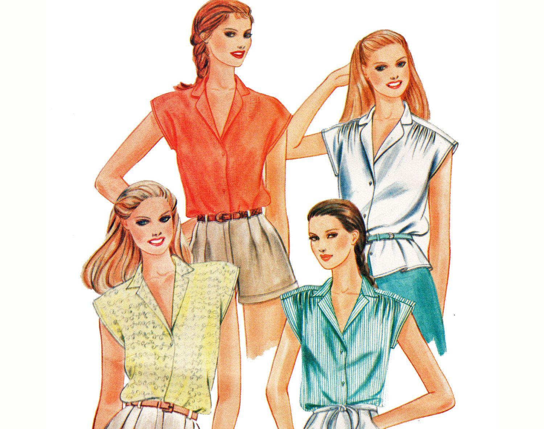 Cap sleeve notched collar blouse pattern retro 80s camp shirt cap sleeve notched collar blouse pattern retro 80s camp shirt sewing pattern butterick 3696 bust 34 jeuxipadfo Images