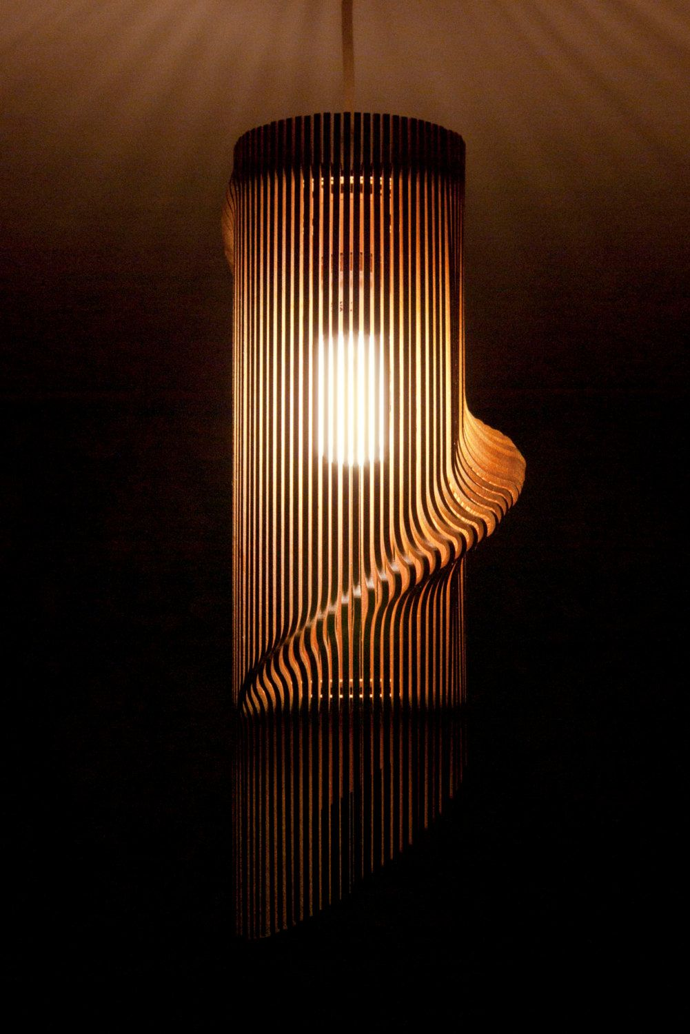 Cool lamp shades - Twisted Lasercut Wooden Lampshade No 1