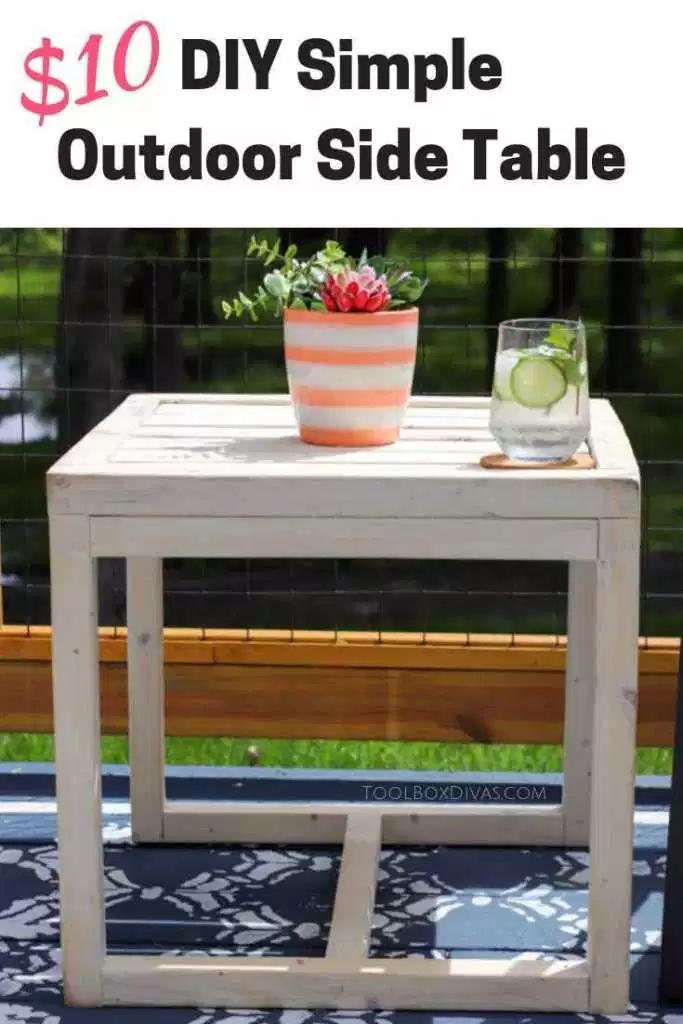 Simple 10 Diy Outdoor Side Table Toolbox Divas Diy Outdoor Furniture Diy Outdoor Table Diy Patio Furniture
