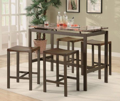 Coaster Atlas 5 Piece Dining Pub Set Brown Finish By Coaster Home Furnishings 395 68 Coast Top Kitchen Table Counter Height Dining Table Kitchen Bar Table