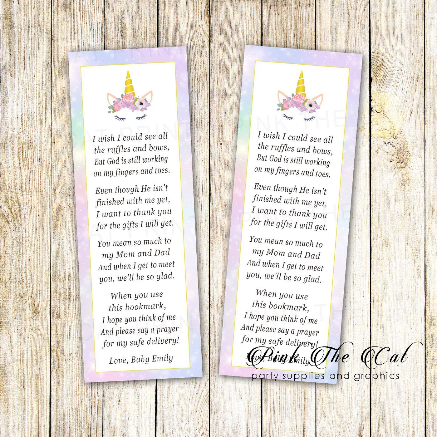 Baby Girl Shower Bookmarks Printable Baby Shower Favors For Girls Girl Shower Bookmark Personalized Bookmark for Baby Shower Favor Ideas