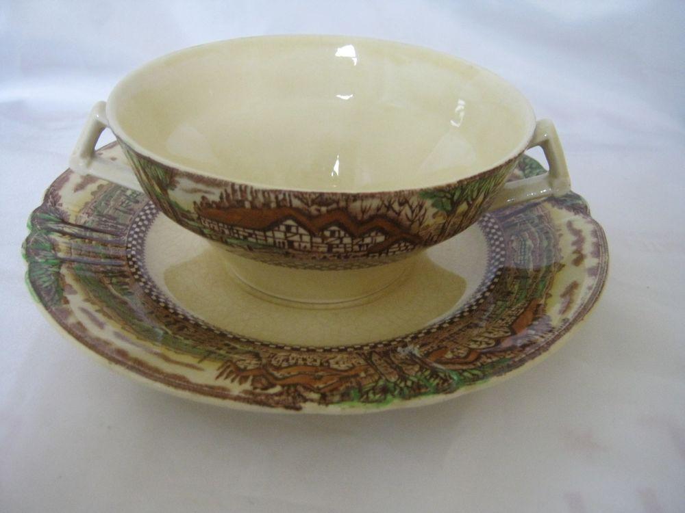 Mott Son & Co Hanley England's Countryside Cream Soup Bullion Cup And Saucer…