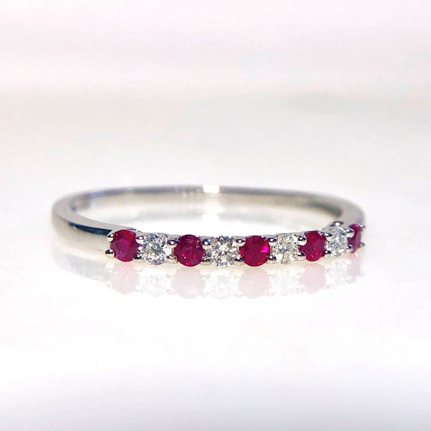Wilkerson B270754 14k White Gold Ruby & Diamond Band in
