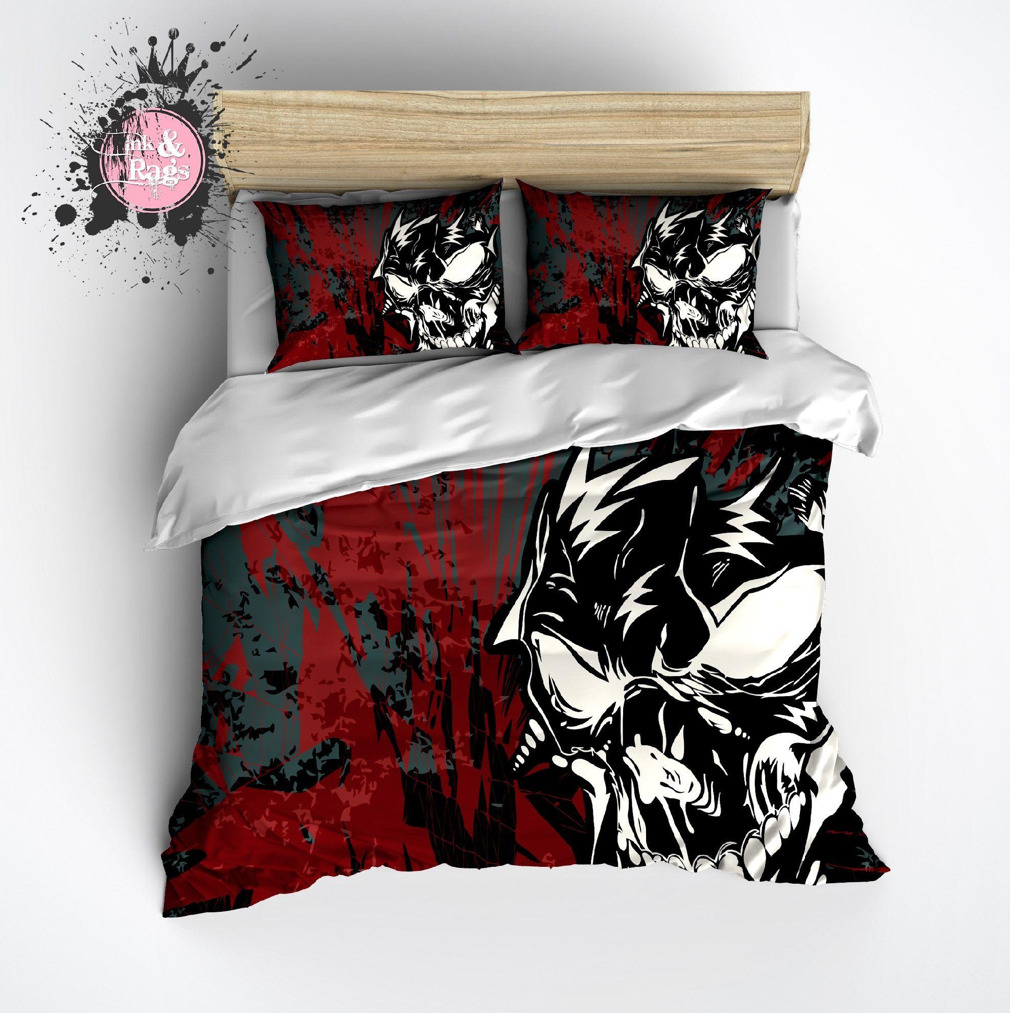 Black and red bed sets - Black Red And Mean Skull Duvet Bedding Sets
