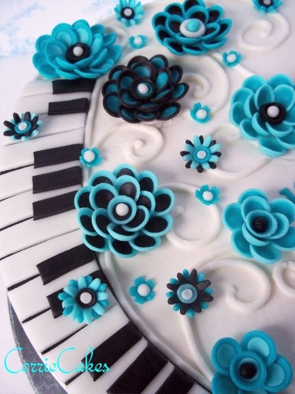Piano keys and flowers Birthday Cake, Thought you might like this, Anna. I think its pretty cool!