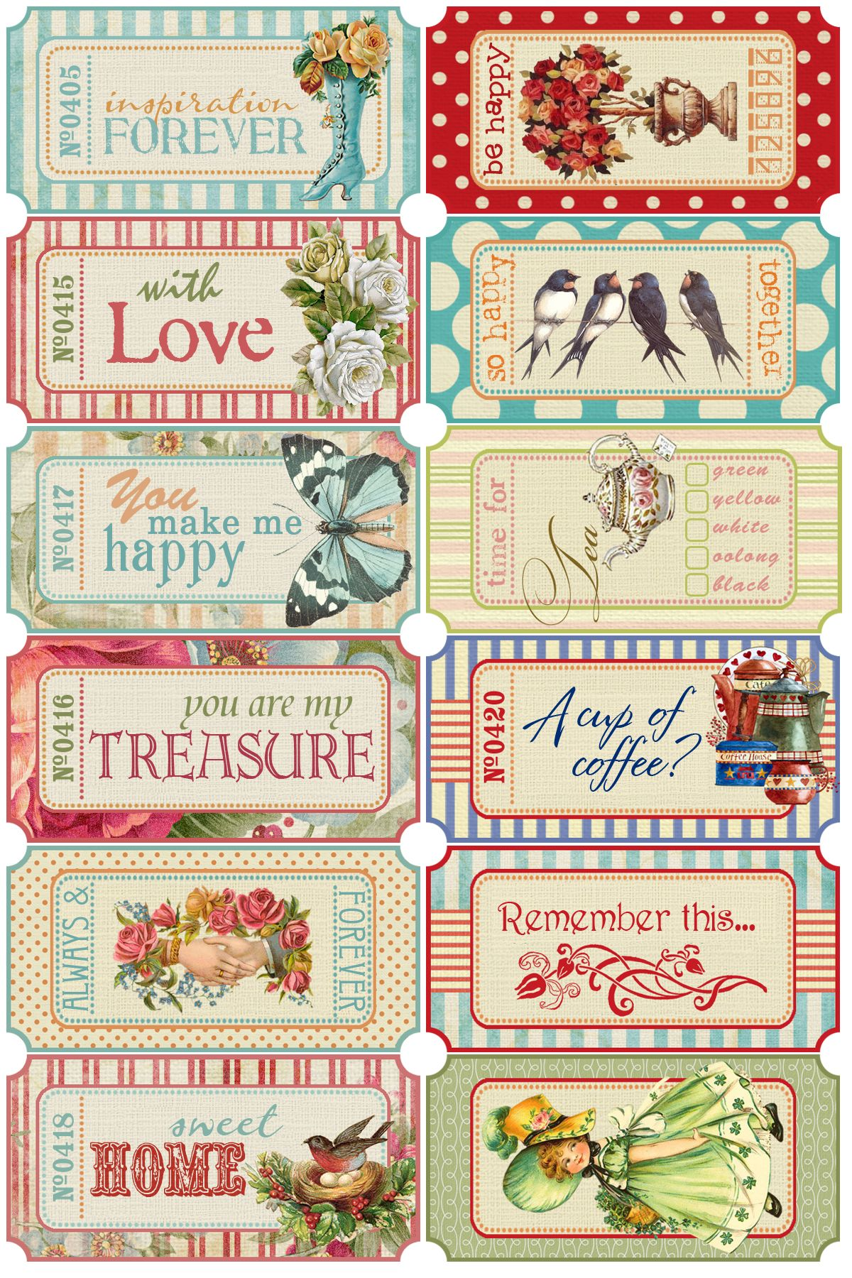 Scrapbook Tags Time for Tea Cards DIY Greeting Cards Shabby Chic Card Toppers