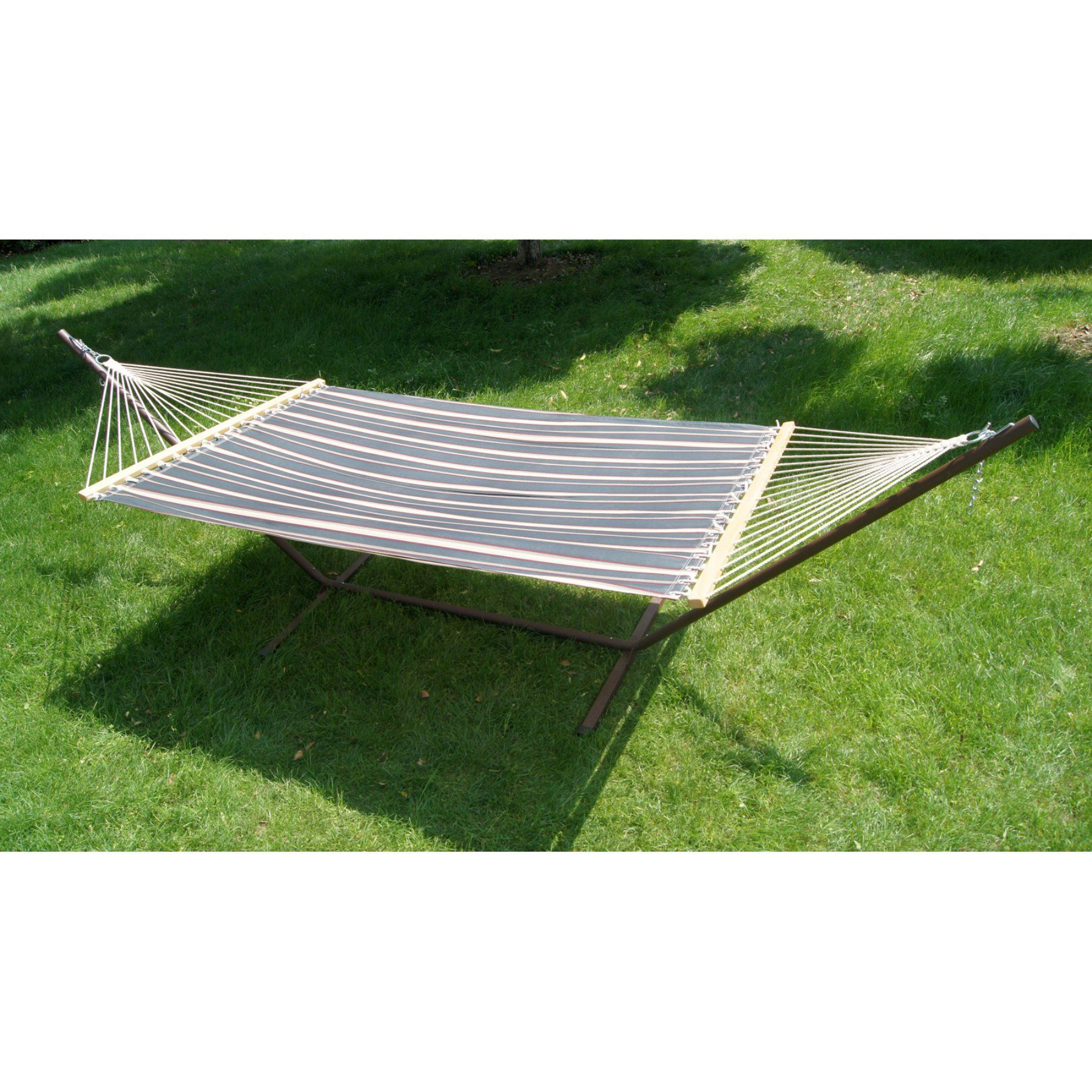 ft fern stripe fabric double hammock and steel stand set