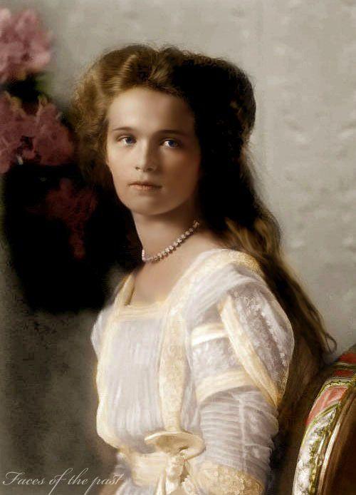 ⊰ Posing with Posies ⊱ paintings & illustrations of women & children with flowers - Grand Duchess Olga Nikolaievna Romanov (1895-1918) Russia by unknown artist 1910