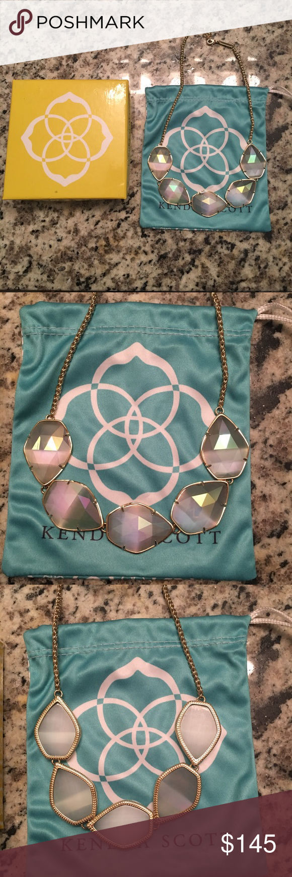 Kendra Scott Connely necklace iridescent slate Worn once perfect condition Kendra Scott Connely necklace. Super rare find! Comes with box and dustbag. Kendra Scott Jewelry Necklaces