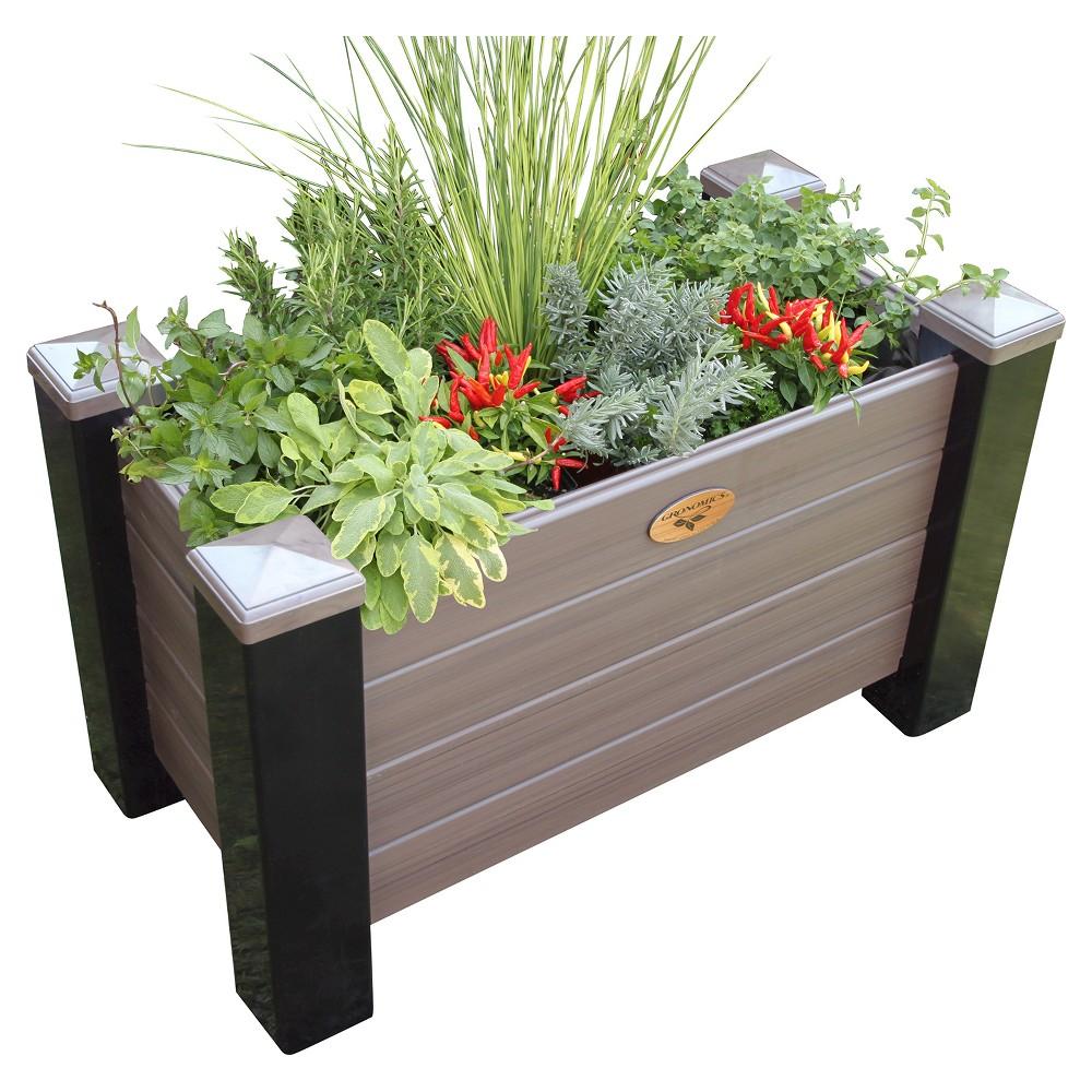 Maintenance Free Rectangular Planter Box Walnut Gronomics
