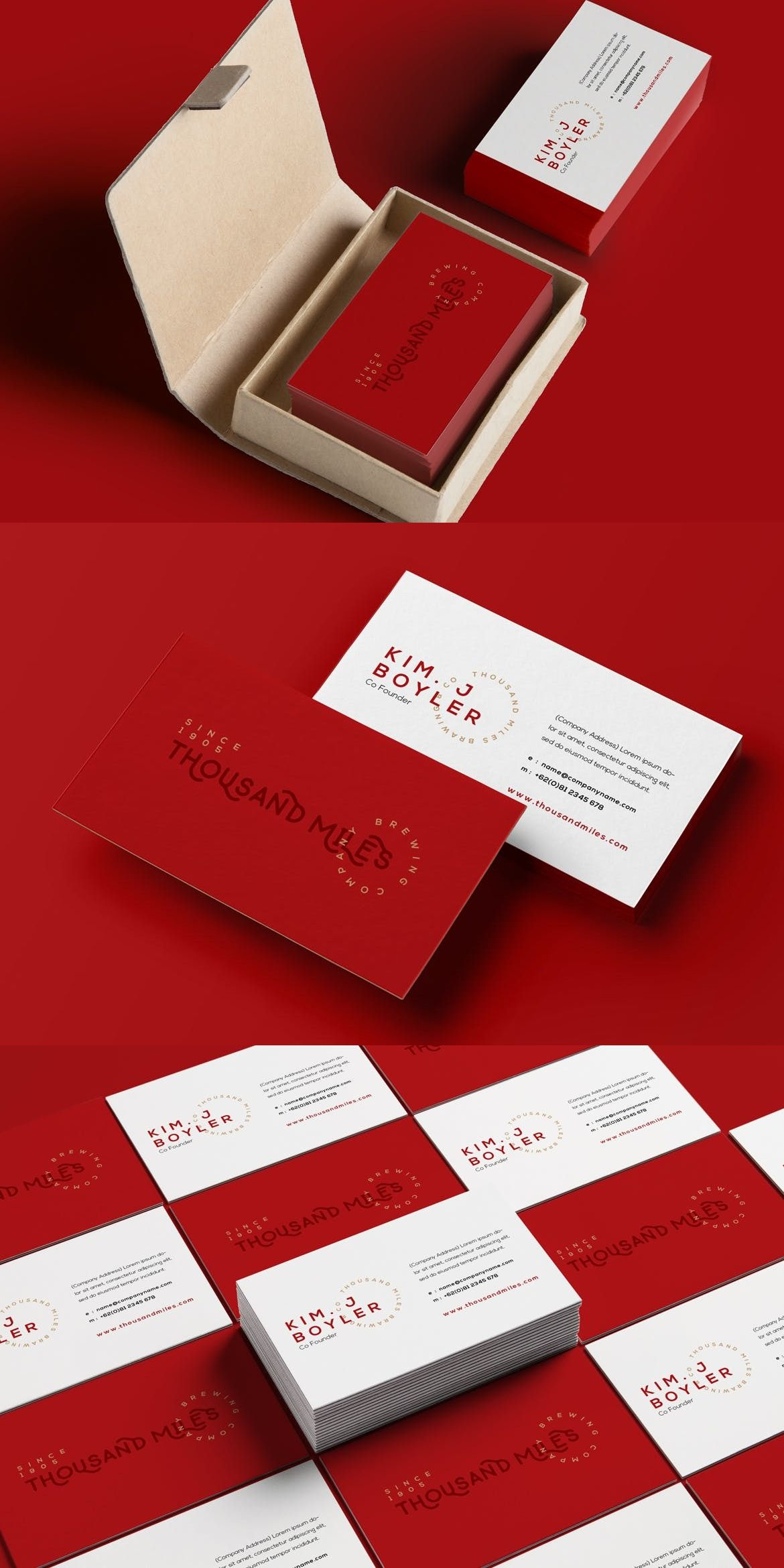 Business Card Adobe InDesign Red