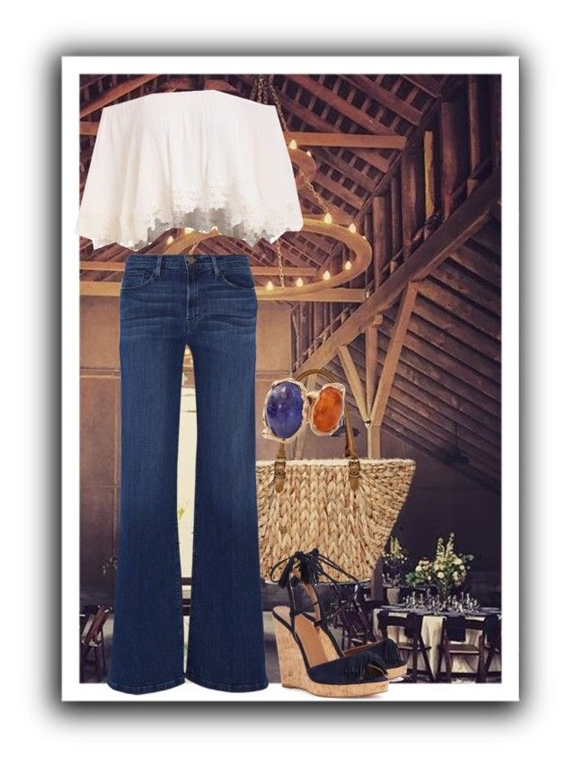 """""""Off the shoulder"""" by thebollings on Polyvore featuring Straw Studios, Aquazzura, Frame Denim, Lucifer Vir Honestus, jeans, flare and retro"""