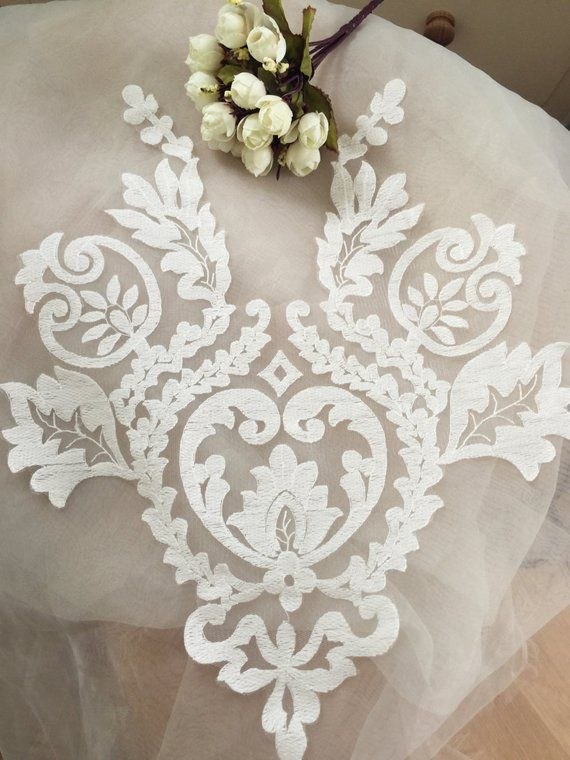 Photo of Graceful ivory wedding lace applique, bridal lace applique f…