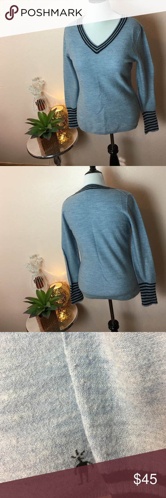 Smartwool Light Blue Vneck Sweater Smartwool Light Blue with Dark Blue accent Vneck Sweater - Gently used but in great condition. - Size: Large - I ❤️ LOVE OFFERS! Smartwool Sweaters V-Necks