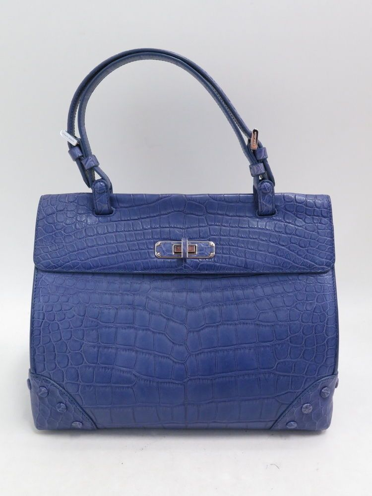 8f1553daf57 Details about Giorgio Armani Alligator Top-Handle Satchel Lavender Carried  Once