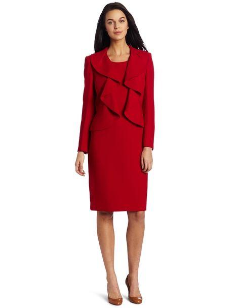 1cf5f31ab Kasper Women s Hearts on Fire Ruffle Jacket Dress Crimson Red (6P) Roupas  Chiques