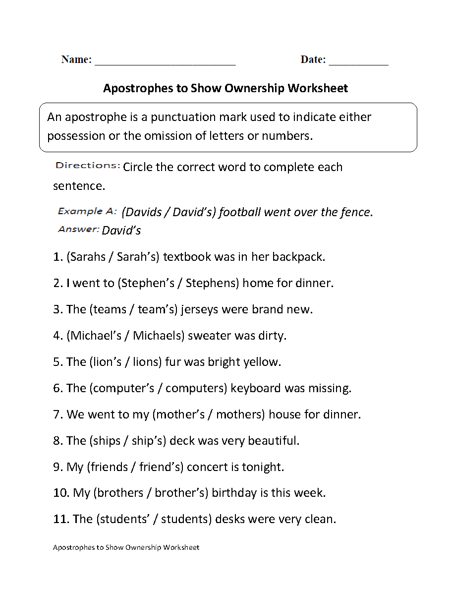 Apostrophes to Show Ownership Worksheet | Great English Tools