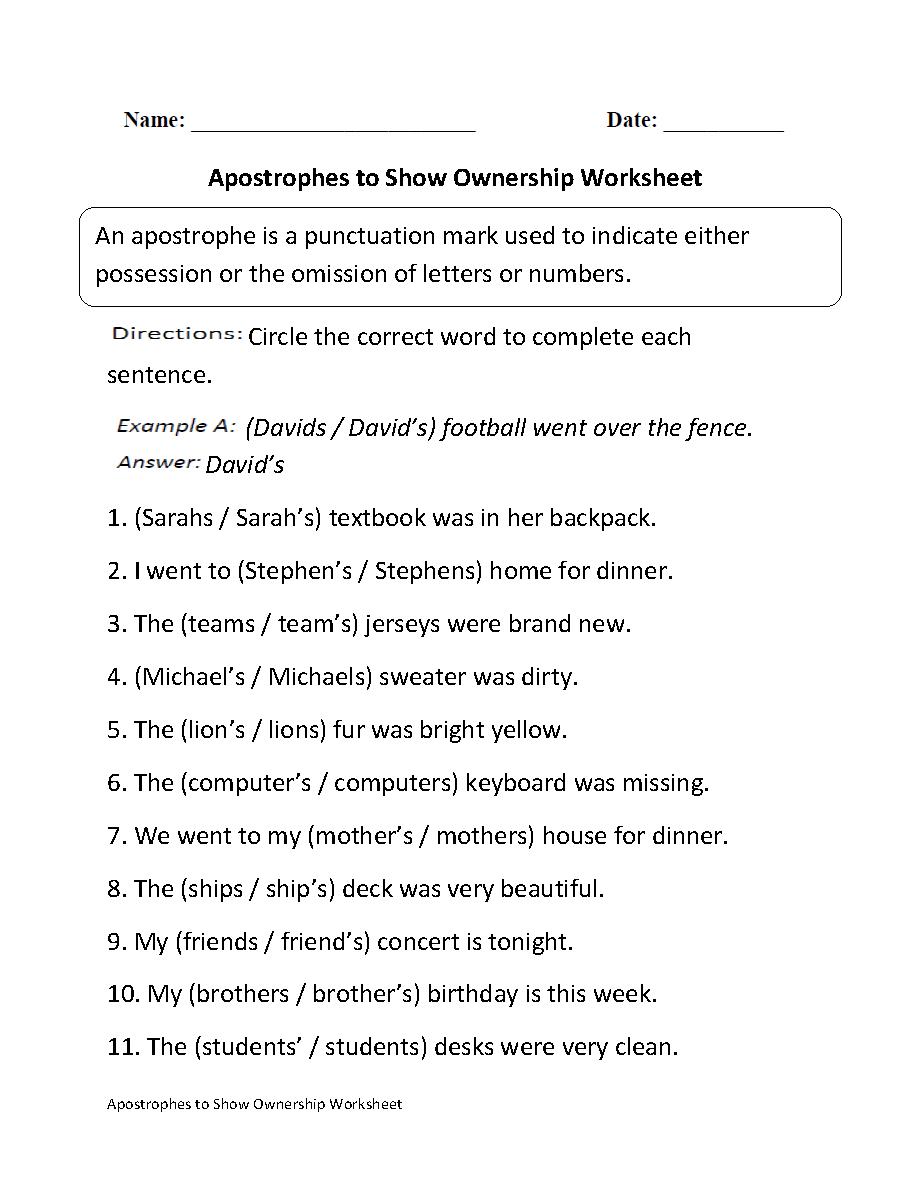 Apostrophes to Show Ownership Worksheet   Apostrophes [ 1188 x 910 Pixel ]