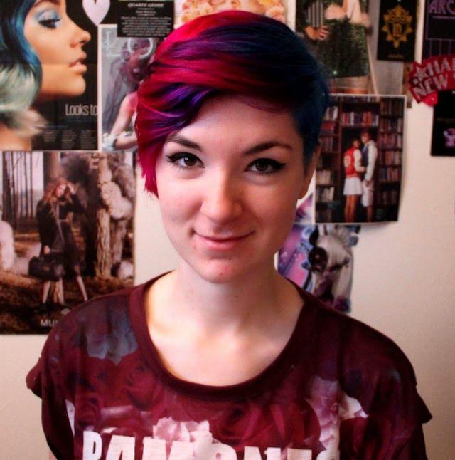 Red Purple Blue Hair Hair Short Hair Styles Dyed Hair