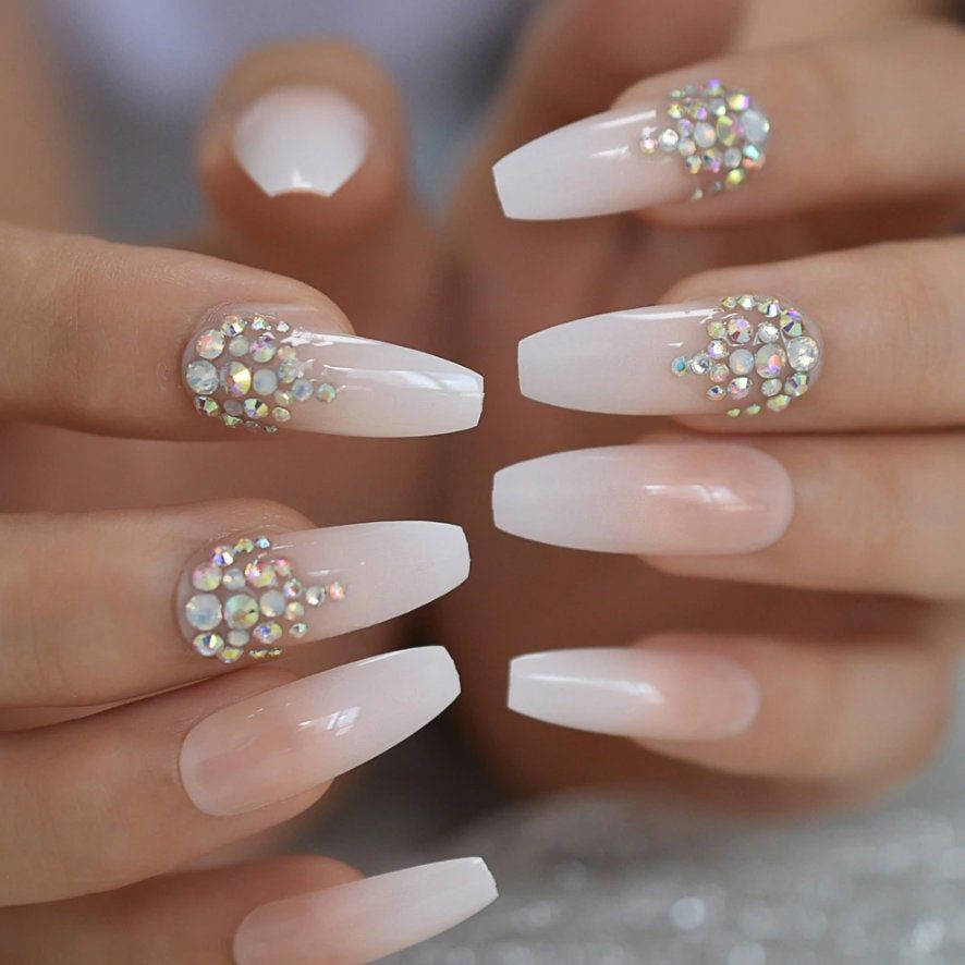 Customized Gorgeous 24pcs Rhinestone Fake Nails Coffin Nails Long Nails Full Set False Nails In 2020 Fake Nails Bedazzled Nails Coffin Nails Long