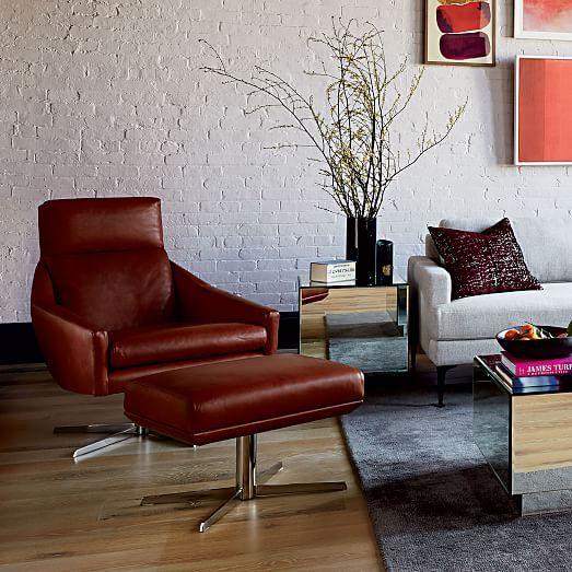 Austin Swivel Base Chair, Leather, Aegean, Polished Nickel ...