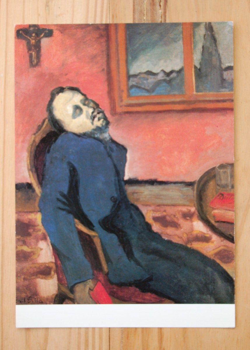 """Vintage ansichtkaart van schilderij """"De Dostojevski lezer"""" dat is geïnspireerd door Munch."""