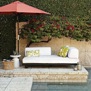 Tillary Outdoor Sofa + 2 Back Support Cushions, Chocolate/White. West  ElmPatio ...