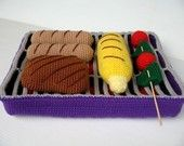 Crochet Pattern - BBQ GRILL and FOOD- Toys / Playfood - pdf