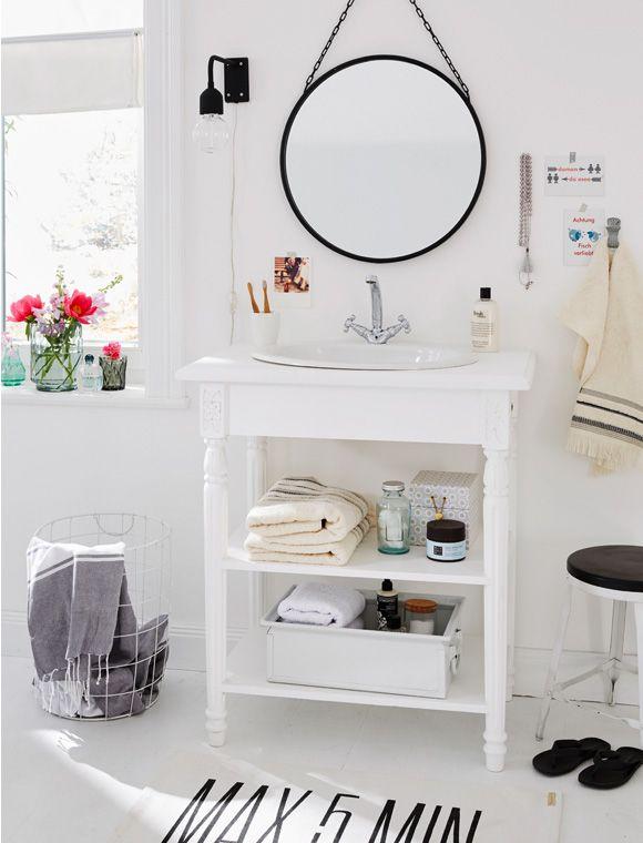Der weiße Waschtisch Landhaus kann als Einzel- oder Doppelwaschtisch ...