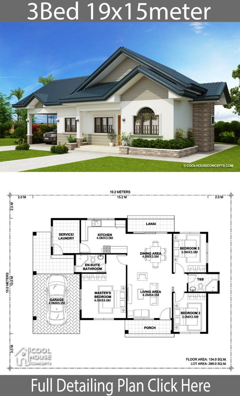 Home design plan 19x15m with 3 Bedrooms Bungalow house