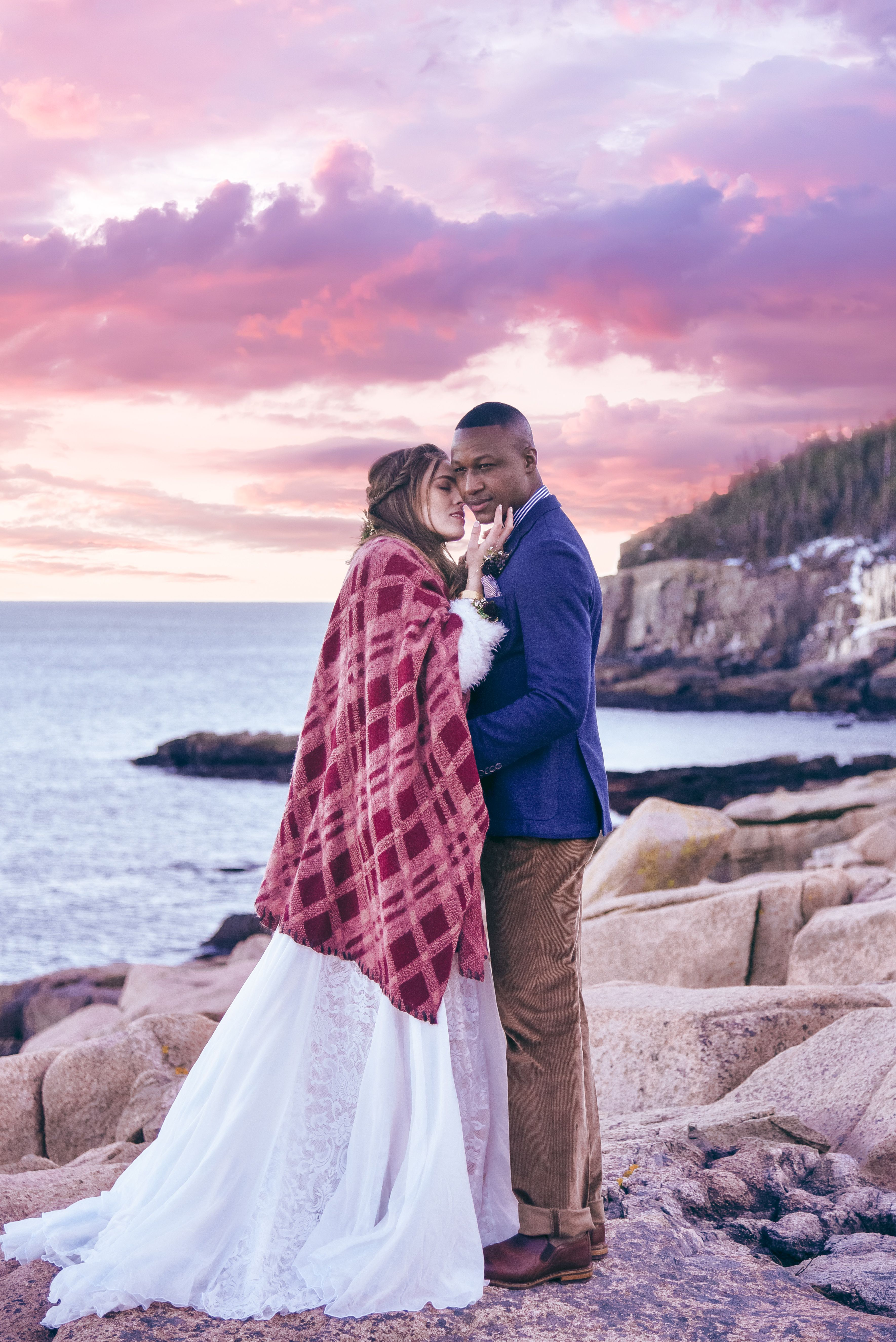 Bohemian Adventure Elopement In Acadia National Park Maine Vintage Wedding Grooms Style Bride Winter