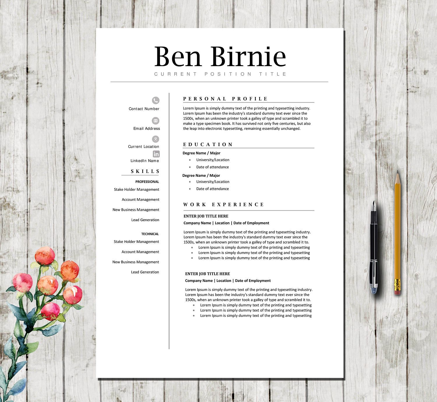 Executive Resume Template  Pages  Professional Teacher Cv Template