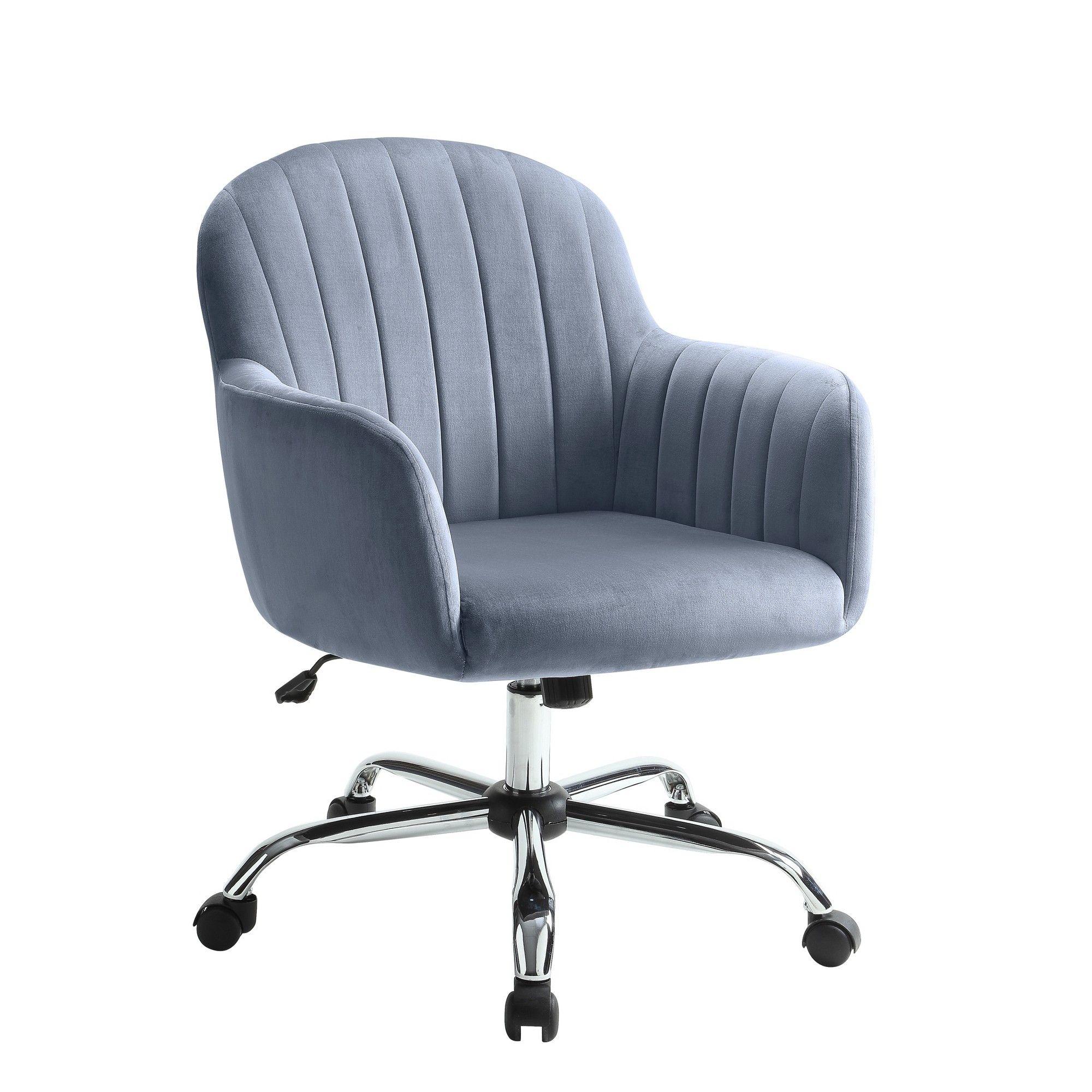Remy Velvet Like Office Chair Gray Mibasics Dark Gray Contemporary Office Chairs Office Chair Furniture Of America