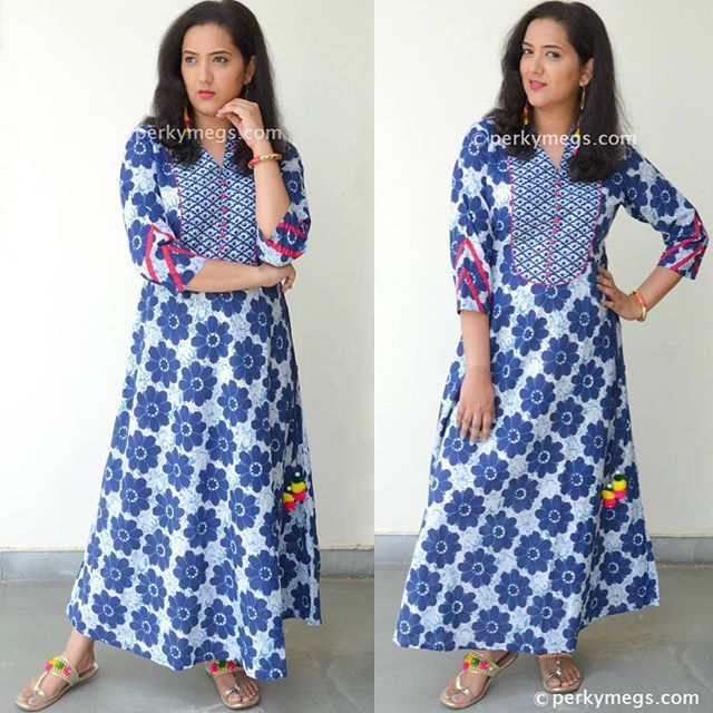 a47f2e1521 Wear long kurtis as dresses.indigo kurti. Long cotton maxi dress. Indigo maxi  dress. Check out my youtube channel Perkymegs for more such Indian ethnic  ...