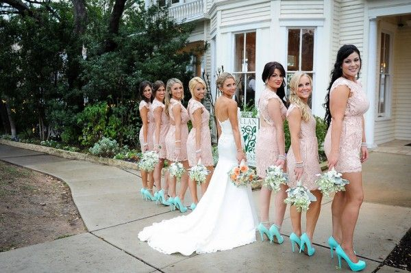 Baby Pink Lace Bridesmaid Dresses   Baby Pink & Turquoise Wedding ...