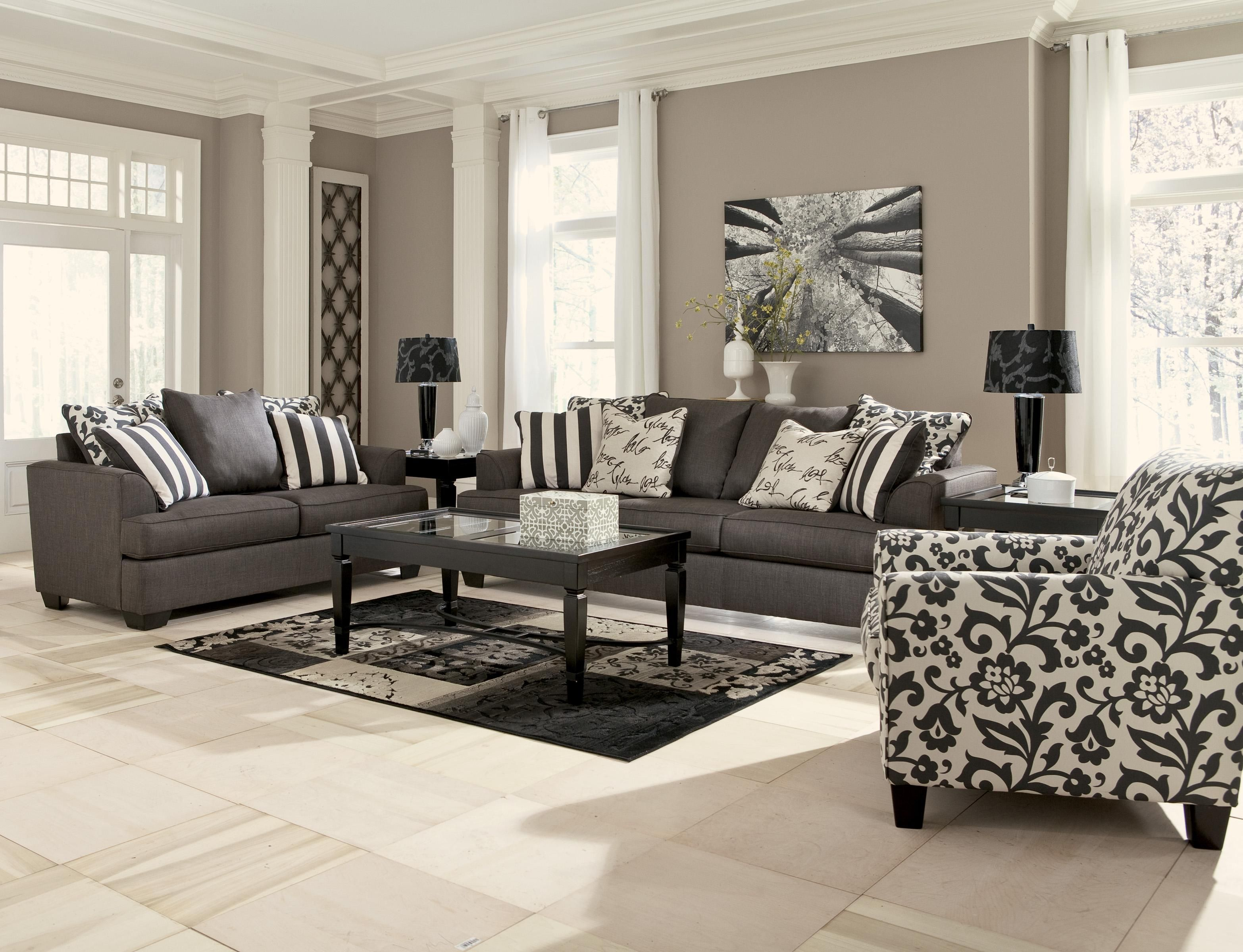 ... Design That Perfectly Utilizes Both Style And Comfort, The Levon  Charcoal Living Room Set By Signature Design By Ashley Furniture Features  Plush Boxed