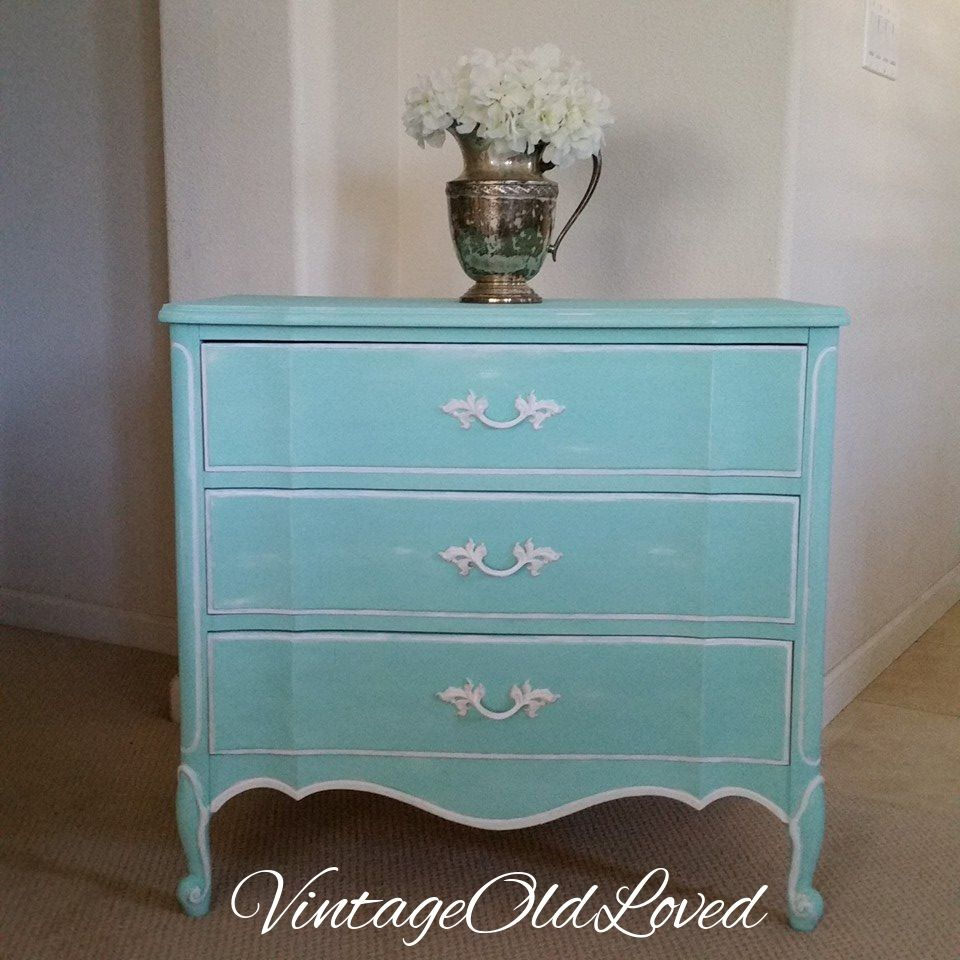 Tiffany Blue Chalk Painted Vintage Nightstand/Small dresser Dixie ...