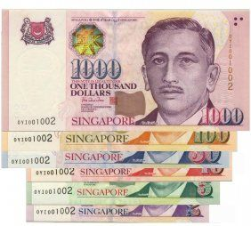 Singapore 2 5 10 50 1000 Identical Prefix Serial Morning Greetings Quotes Currency Design Bank Notes