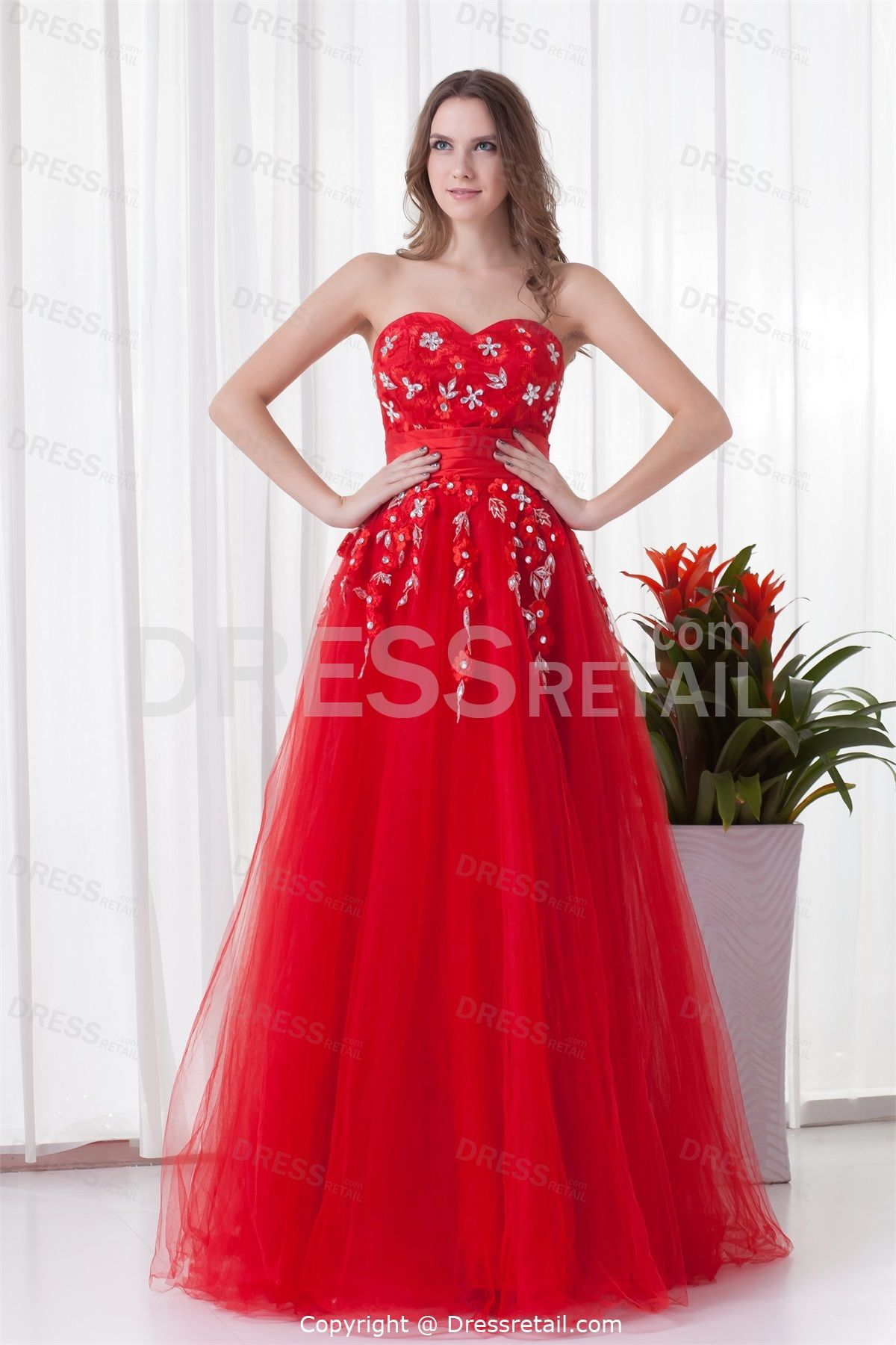 Elegant bright red sweetheart floorlength net satin prom dress