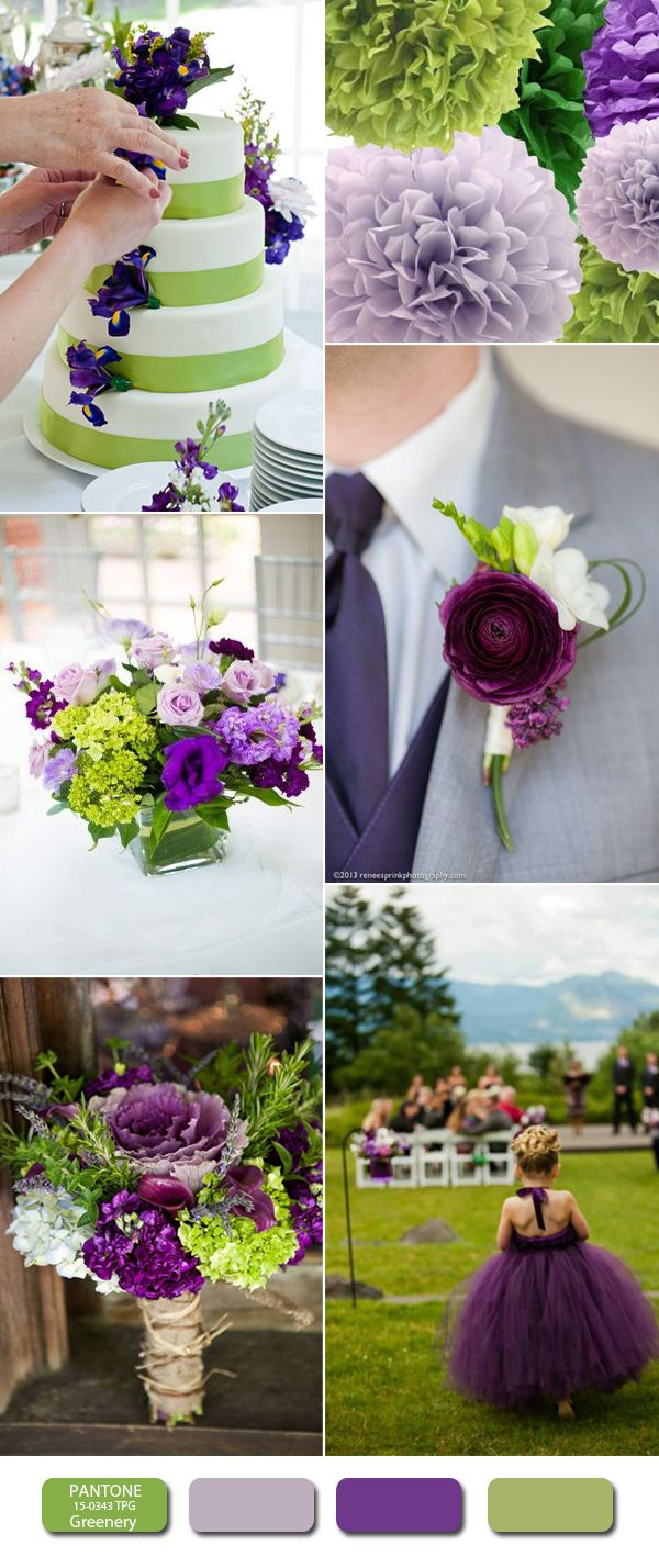 Pantone Color Of The Year 2017 Greenery Wedding Ideas Purple Green