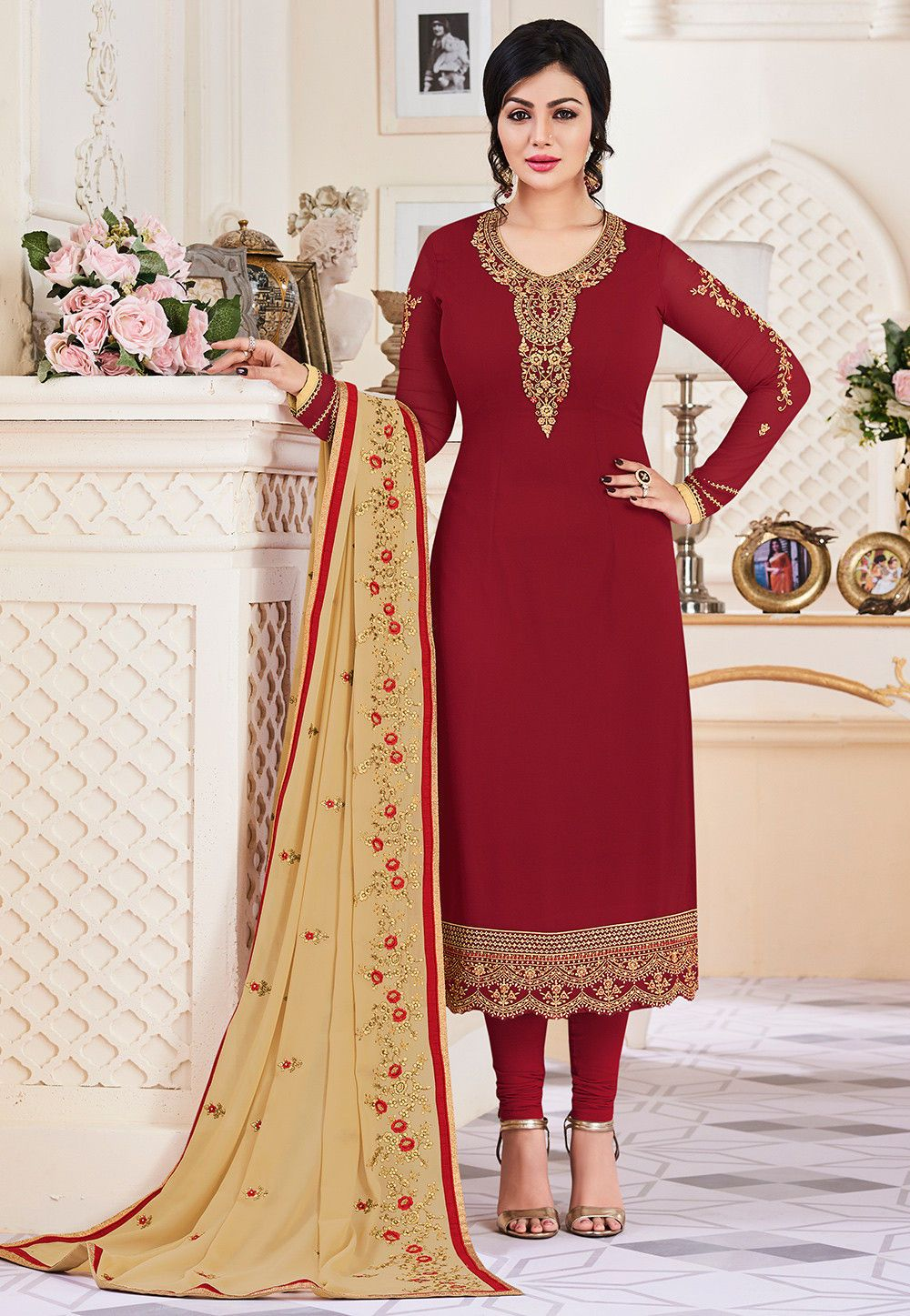 Buy Embroidered Georgette Straight Suit In Maroon Online Item Code Kqu1025 Color Red Occasion Fe Shadi Dresses Designer Dresses Indian Party Wear Dresses