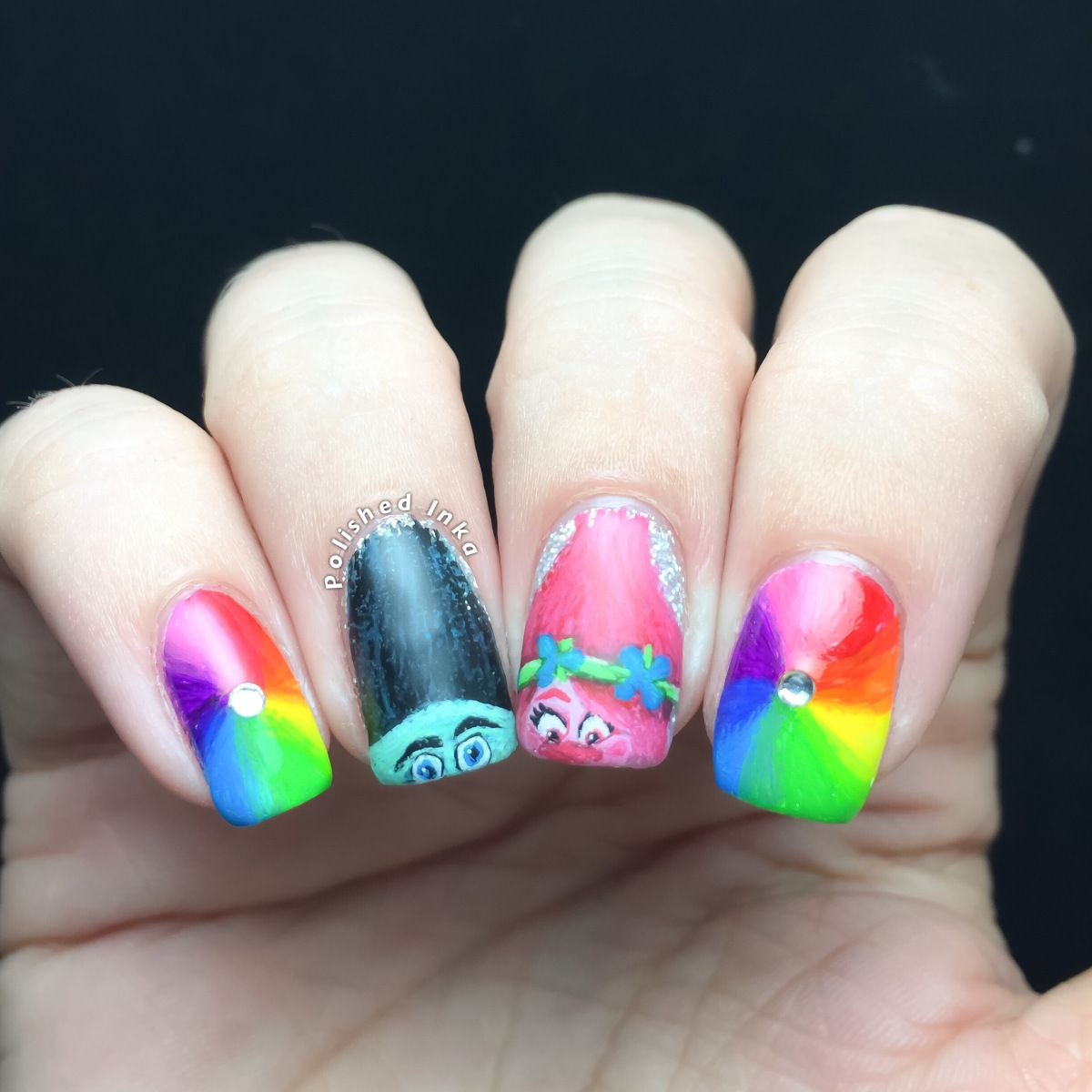Hey, today I have for you some trolls movie nail art I went to see ...