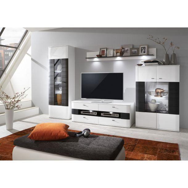 Porta Wohnzimmer, anzani wohnwand in weißer hochglanz-optik | porta! | wohnzimmer, Design ideen