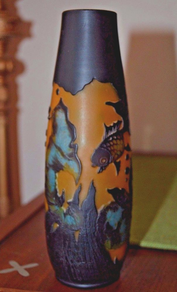 Vintage Galle Style Cameo Glass Vase Fish Black Blue Frosted