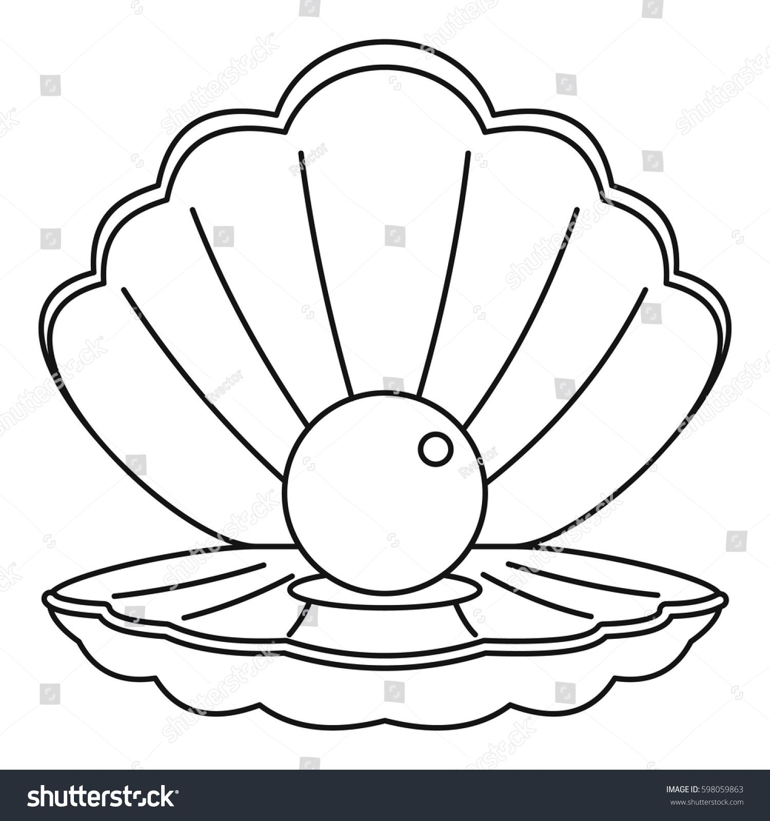 Sea Shell With Pearl Icon Outline Illustration Of Sea