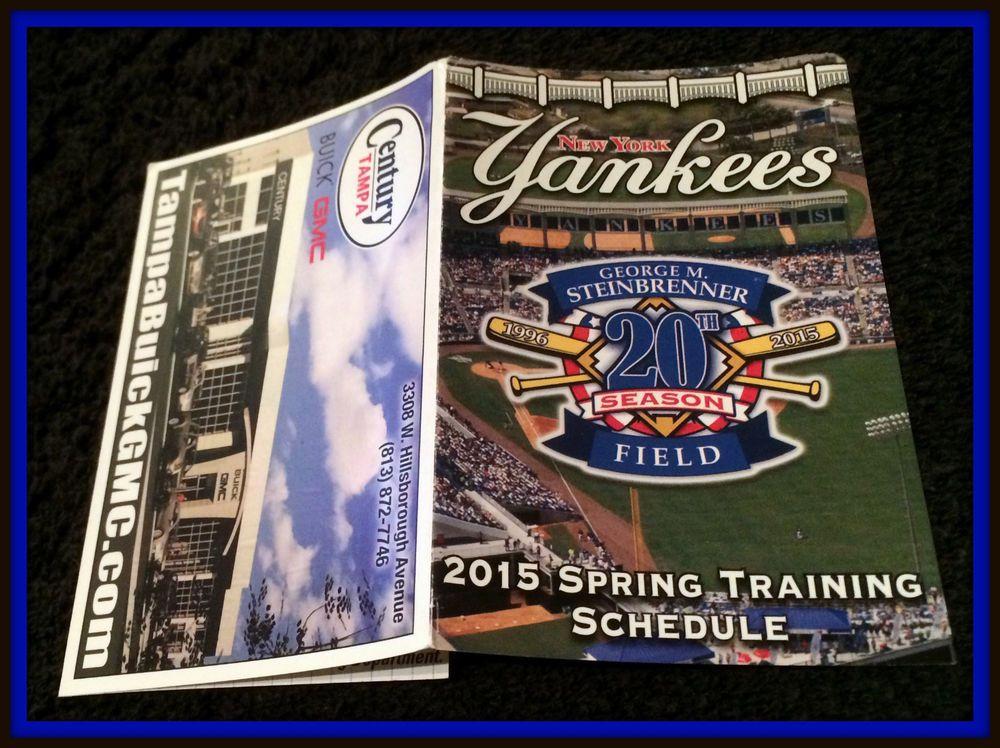 2015 NEW YORK YANKEES CENTURY BUICK GMC SPRING TRAINING BASEBALL POCKET SCHEDULE #Pocket #Schedule